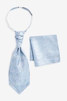 Light Blue Floral Silk Cravat And Pocket Square Set