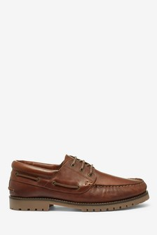 Brown Leather Cleat Boat Shoes