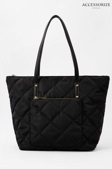 Accessorize Black Tilly Quilted Tote Bag