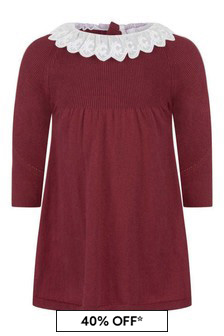 Chloe Kids Baby Girls Red Cotton Knitted Dress
