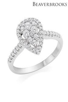Beaverbrooks 9ct White Gold Diamond Cluster Ring