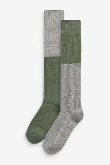 Khaki/Cream Recycled Polyester Knee High Socks 2 Pack
