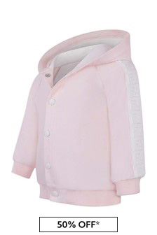 Baby Girls Pink Cotton Bear Hood Cardigan