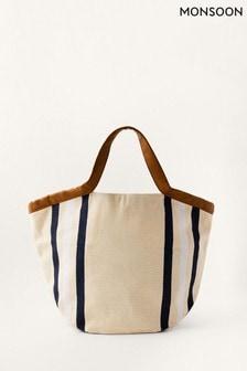 Monsoon Natural Stripe Canvas Shopper Bag