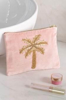 Embellished Palm Tree Cosmetics Bag