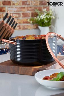 Tower Black And Rose Gold 24cm Casserole Pot
