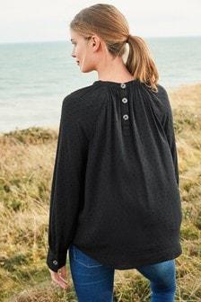 Black Textured Long Sleeve Top