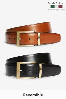 Tan/Black Signature Italian Leather Reversible Belt