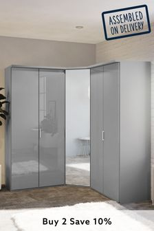 Grey Peyton Corner Mirror Wardrobe