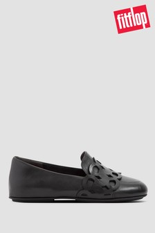 FitFlop™ Black Lena Entwined Loops Leather Loafers