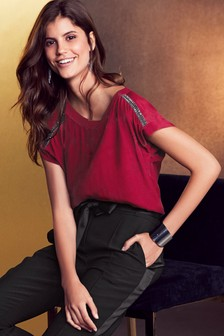 Red  Embellished Trim Top