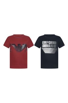 Boys Red/Navy Cotton Logo T-Shirts Two Pack