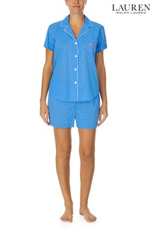 Lauren Ralph Lauren Blue Short Sleeve Notch Collar Top And Boxers Set