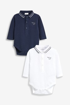 Navy/White Poloshirt Bodysuits Two Pack (0mths-2yrs)