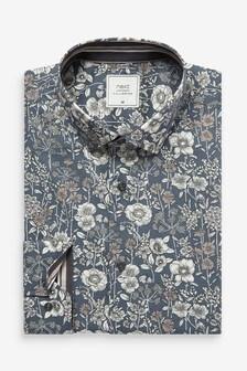 Steel Slim Fit Single Cuff Floral Print Trim Detail Shirt