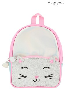 Accessorize Pink Glitter Cat Mini Backpack