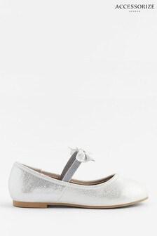 Accessorize Silver Bow Ballerina Flats
