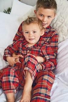 Red Check Button Through Pyjamas (9mths-12yrs)