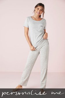 Grey Spot Personalised Cotton Blend Pyjamas
