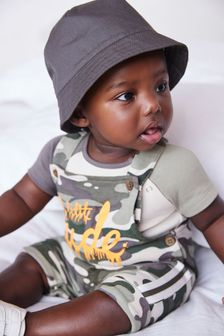 Camouflage GOTS Organic Jersey Dungaree And Bodysuit Set (0mths-3yrs)