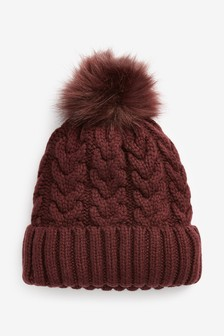Berry Cable Knit Pom Hat