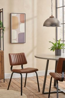 Faux Leather Tan Set of 2 Aiden Dining Chairs With Black Legs