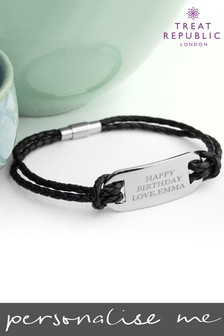 Personalised Men's Black Leather Bracelet by Treat Republic