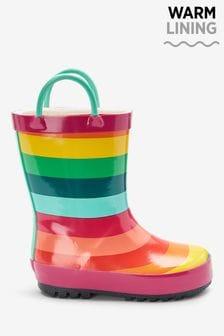 Rainbow Stripe Handle Wellies