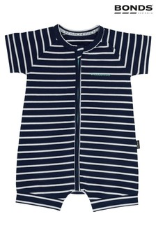 Bonds Black Sea/White Stripe Zip Wondersuit Romper