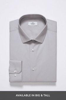 Light Grey Regular Fit Single Cuff Cotton Shirt
