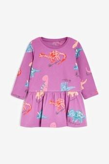 Purple Dinosaur Jersey Dress (3mths-7yrs)