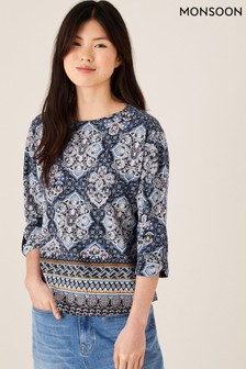 Monsoon Rowan Heritage Print Top in Organic Cotton
