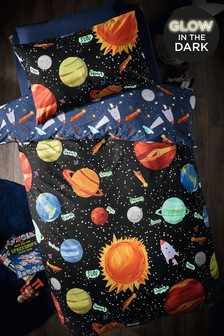 Glow In The Dark Space Planets Duvet Cover And Pillowcase Set