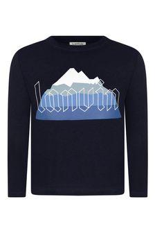 Boys Navy Organic Cotton Long Sleeve T-Shirt