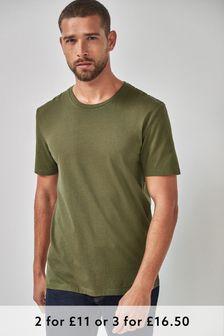 Khaki Regular Fit Crew Neck T-Shirt