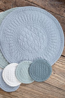 4 Pack Mary Berry Signature Cotton Set of 4 Green Coasters