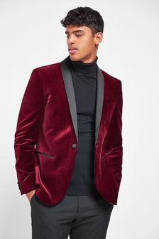 Red Slim Fit Velvet Blazer