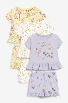Lilac/Ecru/Yellow 3 Pack Floral Cotton Slub Short Pyjamas With Embroidery (9mths-12yrs)