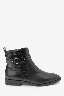 Black Forever Comfort® Hardware Ankle Boots