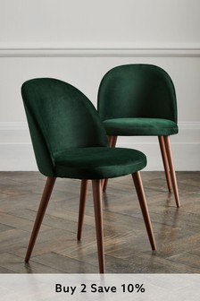 Opulent Velvet Bottle Green Set of 2 Zola Dining Chairs With Walnut Effect Legs