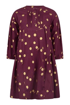 Girls Red Organic Cotton Spotted Dress