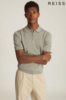 Reiss Green Maxwell Merino Wool Zip Neck Polo