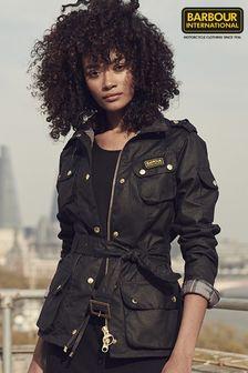 Barbour® International Black Waxed Iconic Biker Jacket