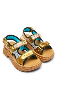 Gold Leather And Mesh Sandals