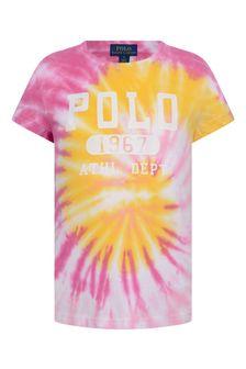 Girls Pink Tie Dye T-Shirt