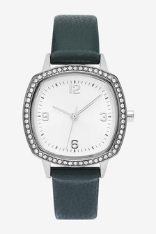 Forest Green Sparkle Square Case Watch