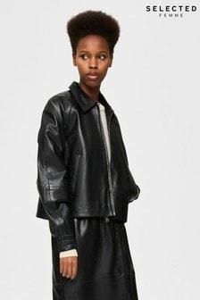 Selected Femme Black Vallery Zip Up Leather Jacket