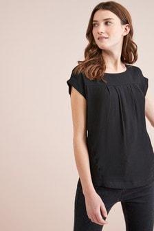 5612d55535a Plain Black Boxy T-Shirt ...