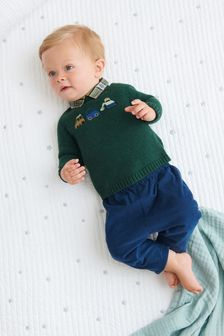 Green 2 Piece Smart Knitted Jumper And Trouser Set (0mths-3yrs)