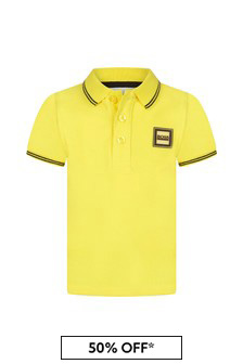 Boss Kidswear Baby Boys Yellow Cotton Polo Shirt